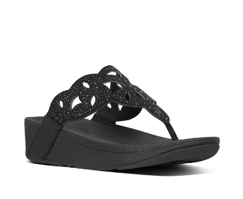 Fitflop Elora Crystal Toe-Thongs Leather/Microfibre