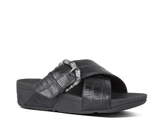 Fitflop Lulu croco slides leather